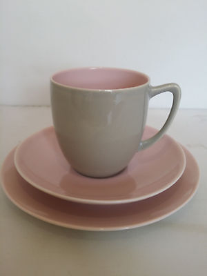 Branksome China, Elephant Grey and Blossom Pink, Tea cup saucer sideplate
