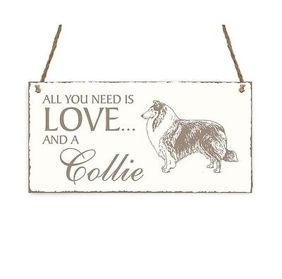 SCHILD « All you need is LOVE and a COLLIE » Langhaar Hund Shabbyschild Dog