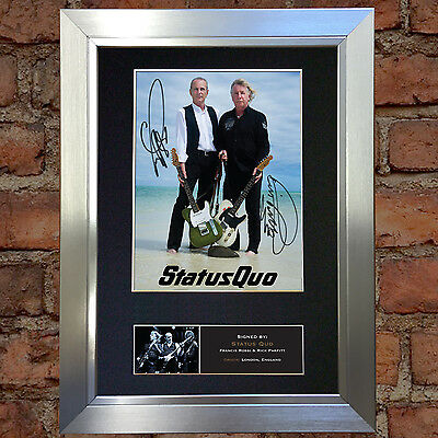 STATUS QUO Signed Autograph Mounted Photo Reproduction A4 Print no456
