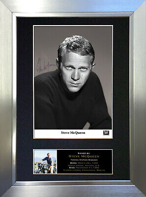 STEVE McQUEEN Great Escape Signed Autograph Mounted Repro Photo A4 Print no336