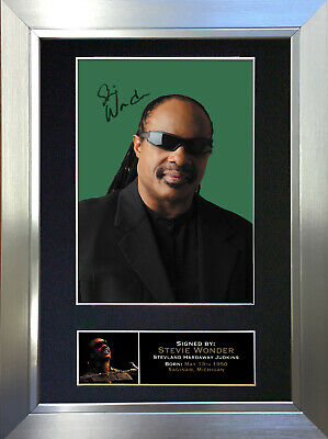 STEVIE WONDER Signed Autograph Mounted Photo Repro A4 Print no150