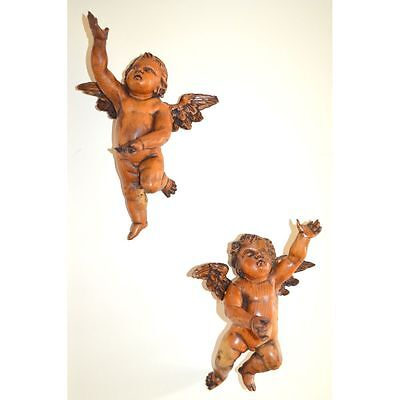 Exemplary Pair of Antique 18th century German Carved Winged Putti Cherubs Angels