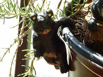Lot of 11 Black Brown Bears Pot Hangers Stakes Plant Ornaments Garden Decor GIFT