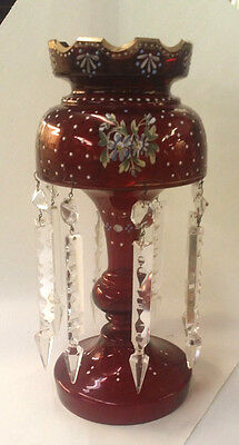 """Antique Handpainted Ruby Lustre 8 Arrow Crystal 13.5"""" High Good Condition Luster"""