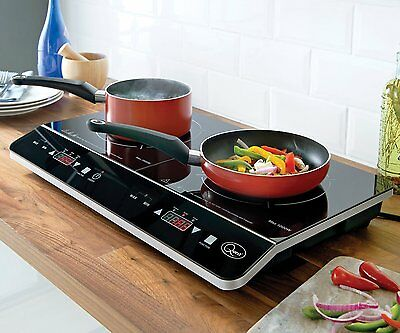 2800W Black Portable Double Twin Digital LCD Electric Induction LED Hob Cooker