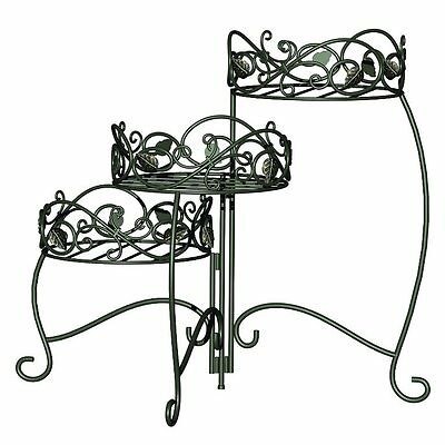 Panacea Products Scroll and Ivy 3-Tiered Folding Plant Stand, Black - A7789173