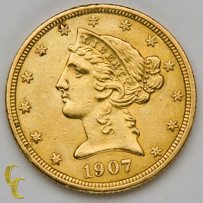 1907 $5 Gold Liberty Head Half Eagle Coin (About Uncirculated Condition)