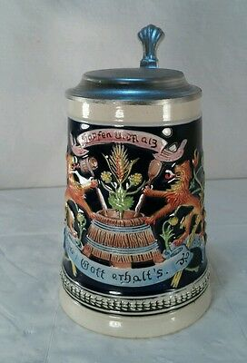 Gerz 1/2 Liter Stein with Lid Hops And Barley Germany GREAT COLORS!