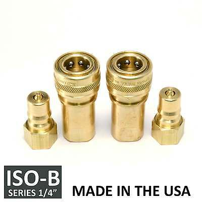 "2 Sets 1/4"" ISO-B Hydraulic Hose Quick Disconnect Couplers Plug - (ISO 7241-1 B)"