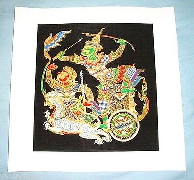 "Thai Art Silk Painting Handmade Picture Beautiful Home Wall Decor"" The Ramayana"""