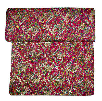 5 Yard Gold Paisley Printed Crap mix Fabric for dress