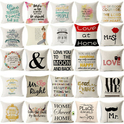 Romantic Retro Words Quotes Throw Cushion Cover Pillow Case Home Sofa Car Decor