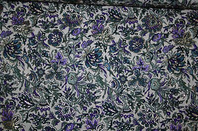 Ethnic Purple Blue Flower with Out Line Gold Print Hand Made Fabric Fabric 5yard