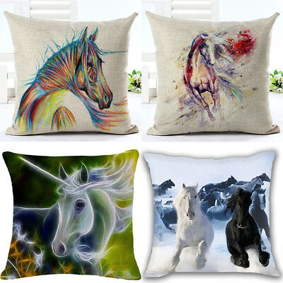 Painting Colorful Running Horse Cushion Cover Pillow Case Sofa Home Car Decor