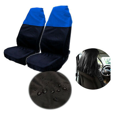2x Universal Waterproof BLUE/BLACK Front Seat Covers/Protector for Car/Van Seats