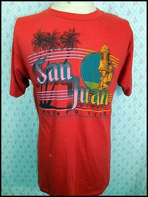 Vintage 1980s USA Made Soft Red Poly/Cotton San Juan Puerto Rico T-shirt Large