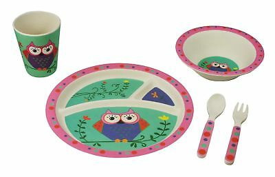 EcoBamboo Ware Kids/Babies Owl Dinnerware Set, 5-piece Bamboo Dinner Set