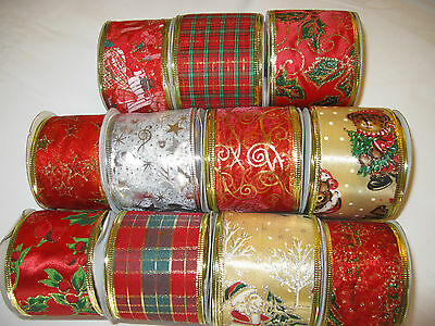 Wired Organza/Satin edge ribbon christmas decoration gift cute present red gold