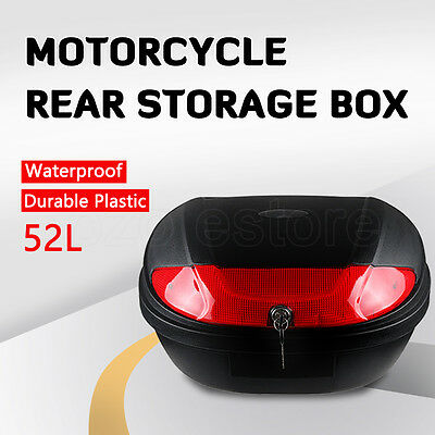 Super Large 52L Universal Motorcycle Scooter Top Tail Box Rear Storage 2 Keys