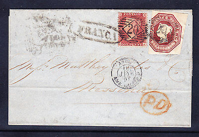 GB QV 1848 SG57 10d brown on cover + 1d star 3 jumbo margs - to Italy cat £3200