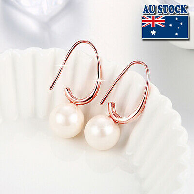 18K Rose Gold Filled Earrings With Big Pearl