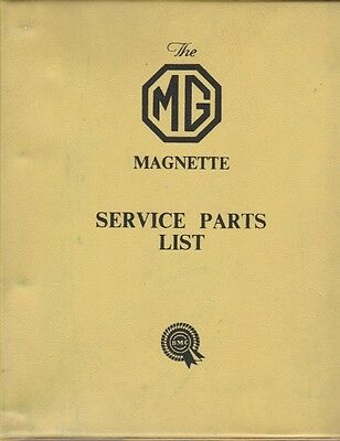 Mg Magnette Series Za Zb Original  Factory Service Parts List Akd 688 May 1957
