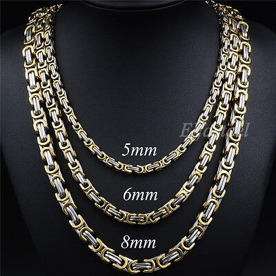 MEN'S 5/6/8MM Silver Gold Tone Stainless Steel Byzantine Box Link Chain Necklace