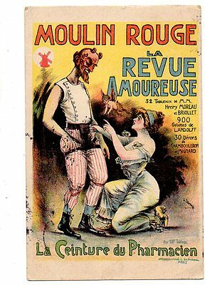 CPA ILLUSTRATEUR L DAMARE CABARET MOULIN ROUGE LA CEINTURE du PHARMACIEN RARE