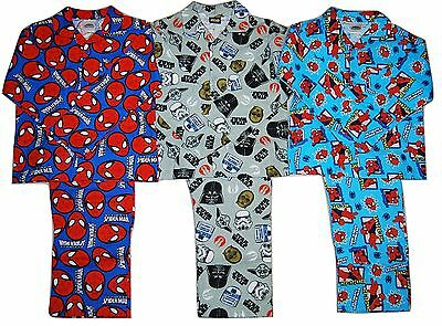 Boys Disney Star Wars Marvel Spiderman Planes Batman Winceyette PJs Pyjamas