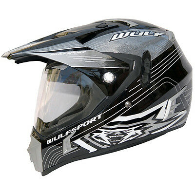 Adult Quad Wulf Wulfsport MX Motocross Prima Speed Flip Visor Helmet Black T