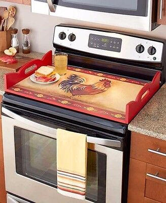 Stove Top Burner Cover Protector Serving Tray Wood Decorative Rooster Red Serve