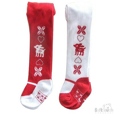 Baby Girls Christmas tights Red White Reindeer Twinkle Heart 0-6-12 Mths