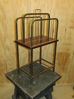 Old or Antique Brass Rosewood Bookcase Magazine Rack  or Canterbury Modern Look