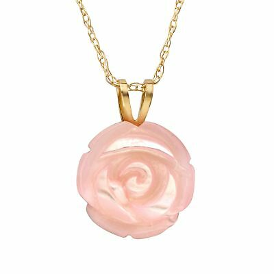 Pink Natural Mother-of-Pearl Rose Pendant in 14K Gold