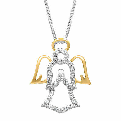 Open Angel Pendant with Diamonds in Sterling Silver & 14K Yellow Gold