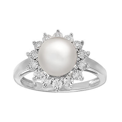 8 mm Freshwater Pearl Ring with Diamonds in 14K White Gold