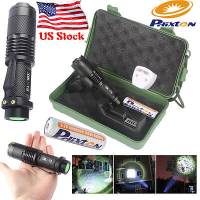 Bright 10000LM CREE XML T6 LED Tactical Police Flashlight+Battery+Charger+Case