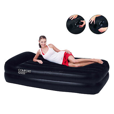 Bestway Inflatable Single Comfort Quest Flocked Airbed Camping Electric Pump New