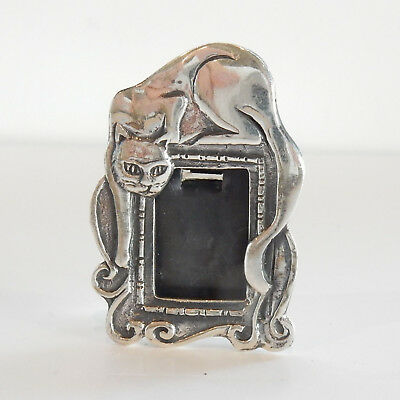 Miniature Sterling Silver Cat Photograph Frame Hallmarked