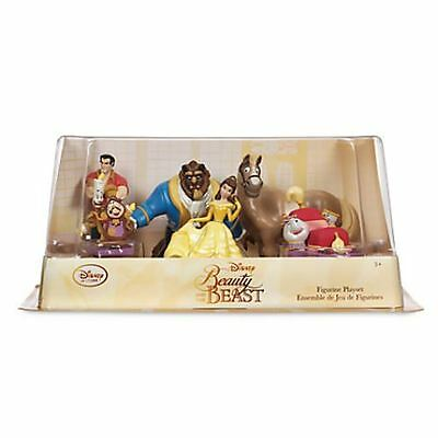 Disney BEAUTY & THE BEAST Belle Cogsworth Lumiere Figure Figurine PLAY SET - NEW