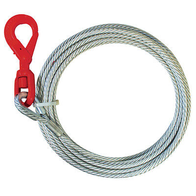 "Wire Rope Winch Cable 3/8"" Positive Locking Swivel Hook Tow Truck Flatbed"