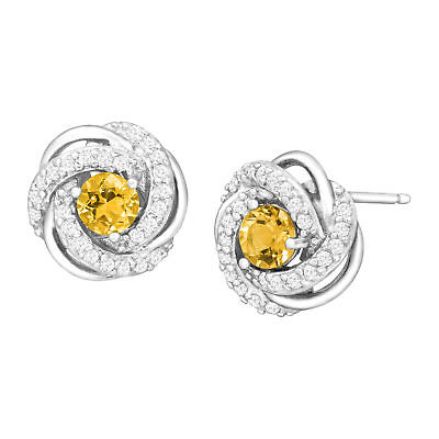 3/4 ct Natural Citrine & Created White Sapphire Stud Earrings in Sterling Silver
