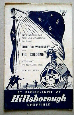 Sheffield Wednesday V Cologne 27/11/1963 Uefa/fairs Cup