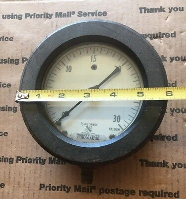 "LARGE ASHCROFT GAUGE 5 3/4"" 0-30  Steampunk"