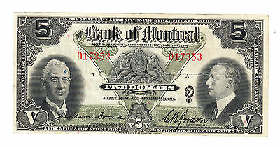 1938 Bank of Montreal - $5 Bank Note - Serial # 017353 - Very Fine