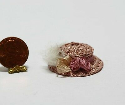 Dollhouse Miniature 1:12 Artisan Ladies Pink Straw Hat w/Pink Silk Roses & Wh...