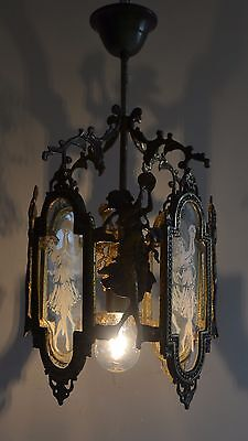 Antique Vintage Lantern Brass Chandelier Lamp 1950 Pendant Glass Light