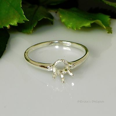 6mm Round 6 Prong Solitaire Sterling Silver Pre-Notched RING Setting Sz8