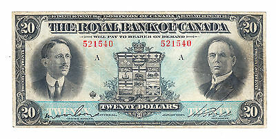 1927 Royal Bank of Canada - $20 Bank Note - Serial # 521540 - Very Fine