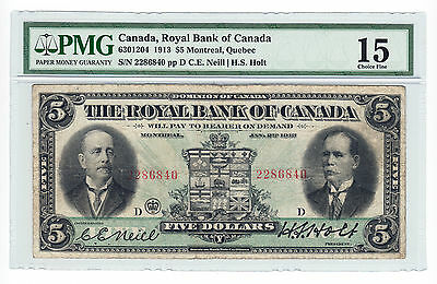 1913 Royal Bank of Canada - $5 Bank Note - PMG Graded Fine 15 - Serial # 2286840